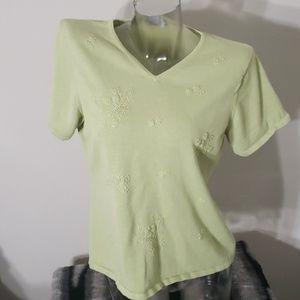Light Green Light Knit Short Sleeve Top